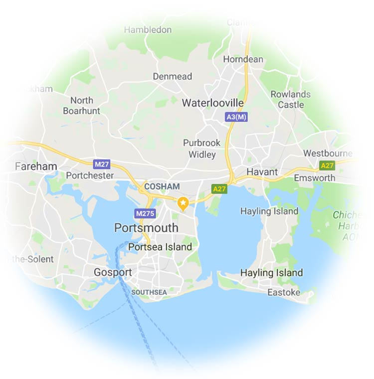 Map of the Portsmouth area